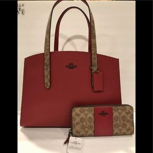 Coach colorblock charlie tote bag and wallet